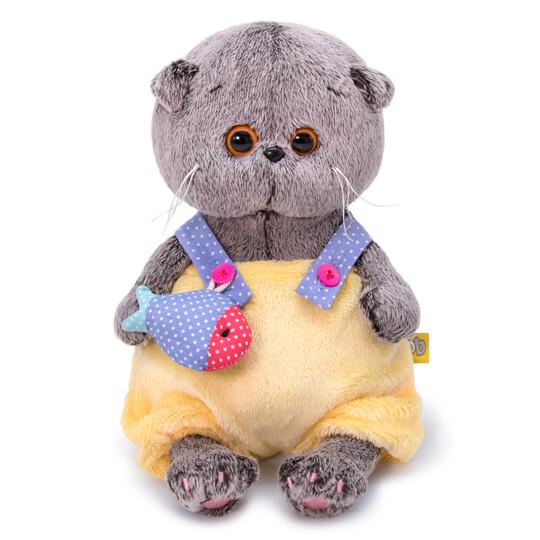 BUDI BASA Мягкая игрушка Басик Baby в меховом комбинезоне - 20 см в положении сидя