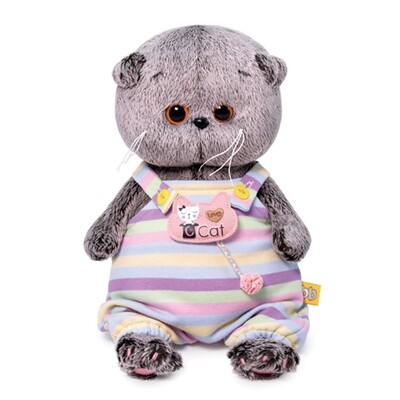 BUDI BASA Мягкая игрушка Басик Baby в полосатом комбинезончике - 20 см в положении сидя