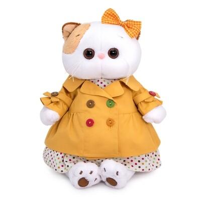 BUDI BASA Мягкая игрушка кошечка Ли-Ли в желтом плаще - 24 см в положении сидя