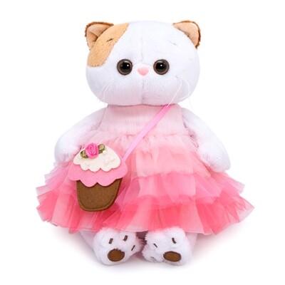 BUDI BASA Мягкая игрушка кошечка Ли-Ли с сумочкой-пирожным - 24 см в положении сидя