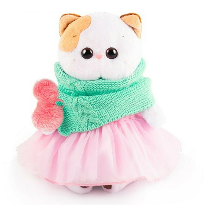 BUDI BASA Мягкая игрушка кошечка Ли-Ли в юбке со снудом - 24 см в положении сидя