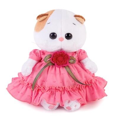 BUDI BASA Мягкая игрушка кошечка Ли-Ли Baby в платье с вязаным цветочком - 20 см в положении сидя