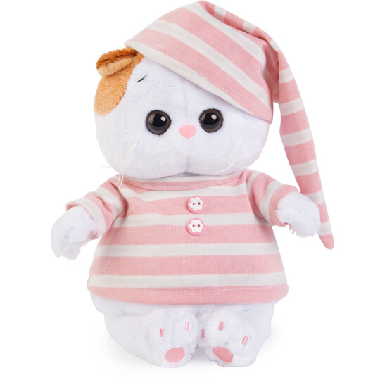BUDI BASA Мягкая игрушка кошечка Ли-Ли Baby в полосатой пижамке - 20 см в положении сидя