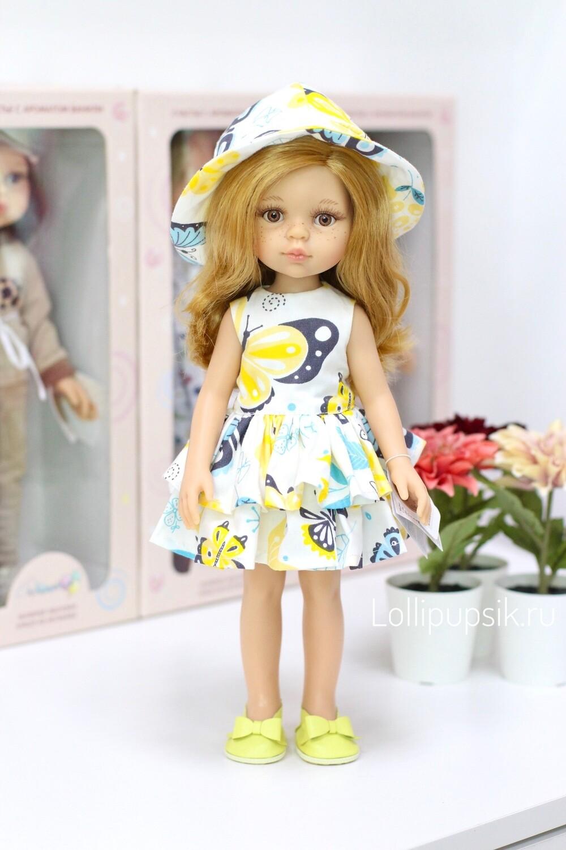 Кукла Даша в летнем платье с панамкой (Паола Рейна), 34 см