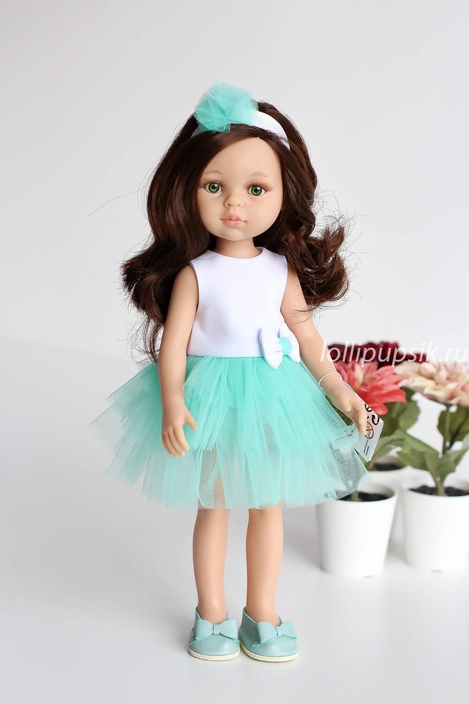 Кукла Кэрол с волосами по пояс в нарядном платье, с зелеными глазами (Паола Рейна), 34 см