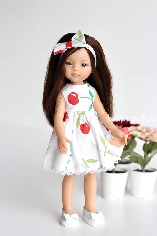 Кукла Мали с серыми глазами в платье с вишенками, Паола Рейна , 34 см