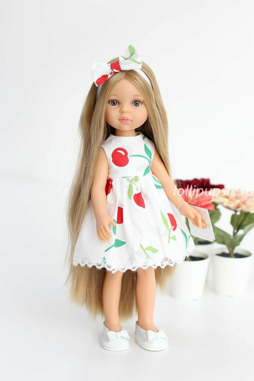 Кукла Карла Рапунцель с серо-голубыми глазами в платье с вишенками, Паола Рейна , 34 см