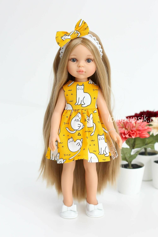Предзаказ. Отправка после 10 июня. Кукла Карла Рапунцель с серо-голубыми глазами в платье с кошечками (пижама в комплекте), Паола Рейна , 34 см
