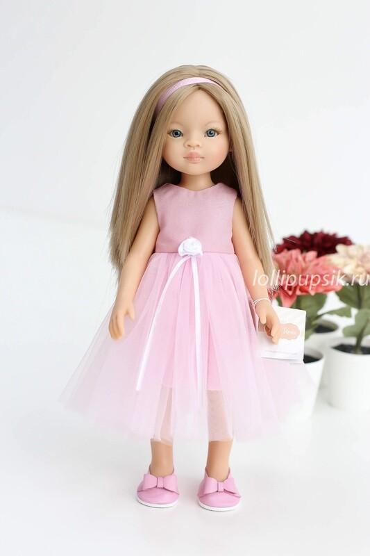 Кукла Маника с волосами по пояс, с голубыми глазами в нарядном платье  (Паола Рейна), 34 см