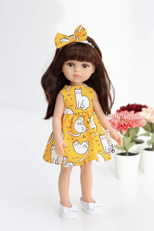 Кукла Кэрол с челкой в платье с кошечками (Паола Рейна), 34 см