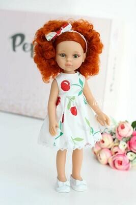 Кукла Каролина в платье с вишенками,  Паола Рейна , 34 см