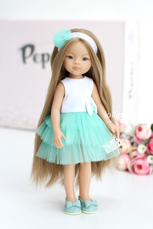 Кукла Маника с волосами до щиколоток (Рапунцель) в нарядном платье Паола Рейна, 34 см