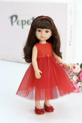 Кукла Кэрол с челкой в нарядном красном платье (Паола Рейна), 34 см