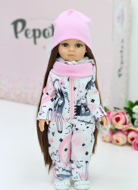 Кукла Кэрол Рапунцель с длинными волосами в зимнем комбинезоне (пижама в комплекте) (Паола Рейна), 34 см