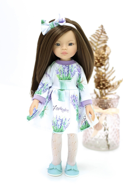 Кукла Мали с серыми глазами в лавандовом платье, Паола Рейна , 34 см
