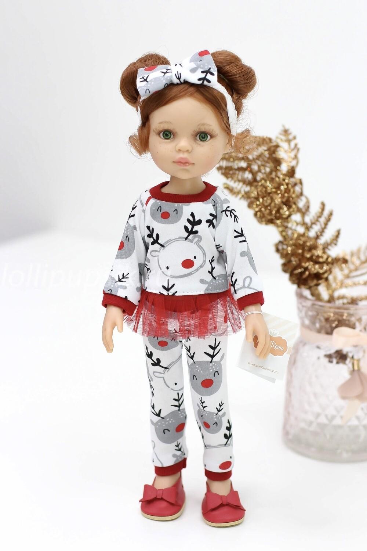 Кукла Кристи с буклями в новогоднем наряде,  Паола Рейна , 34 см