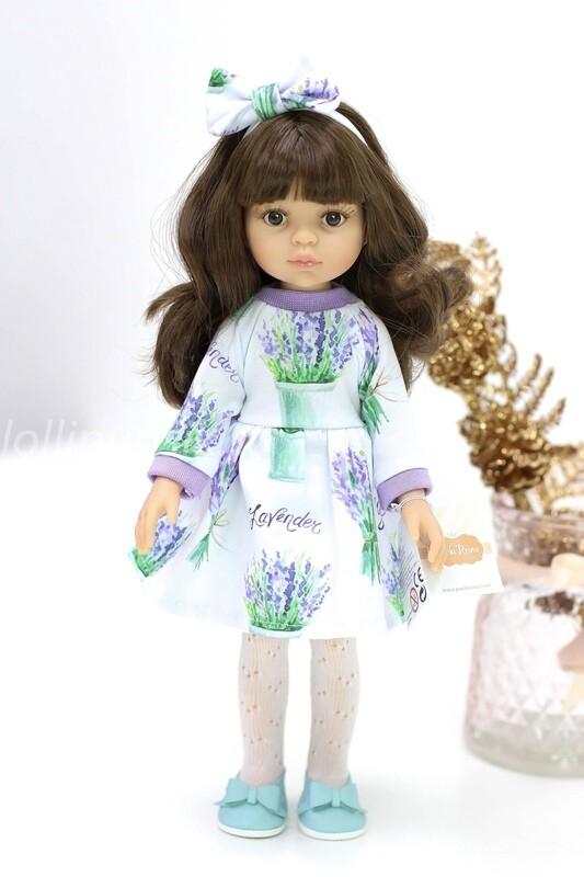 Кукла Кэрол с челкой и карими глазами, в стильном лавандовом платье (Паола Рейна), 34 см