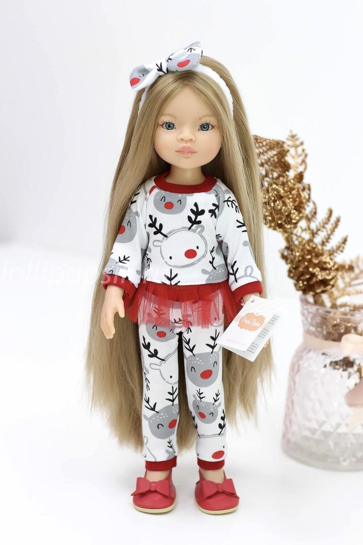 Кукла Маника с волосами до щиколоток (Рапунцель) в новогоднем наряде, Паола Рейна, 34 см