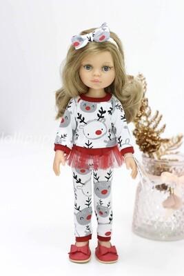 Кукла Карла с волосами по пояс в новогоднем наряде, с серыми глазами (Паола Рейна), 34 см