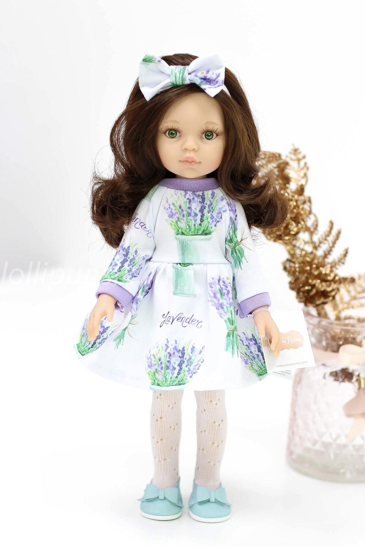 Кукла Кэрол с волосами по пояс в лавандовом платье, с зелеными глазами  (Паола Рейна), 34 см