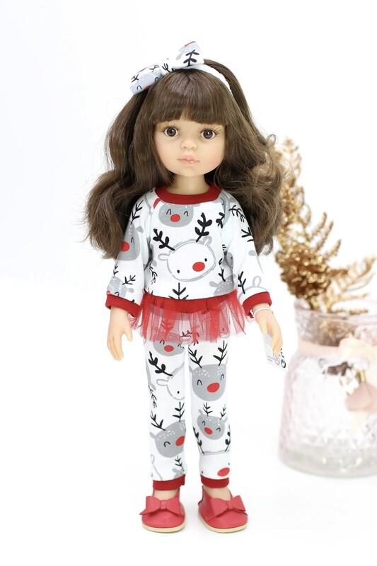 Кукла Кэрол с челкой в новогоднем наряде (Паола Рейна), 34 см