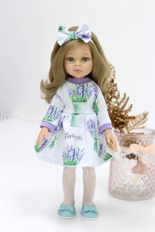 Кукла Карла с серыми глазами, волосами до пояса в лавандовом платье (Паола Рейна), 34 см