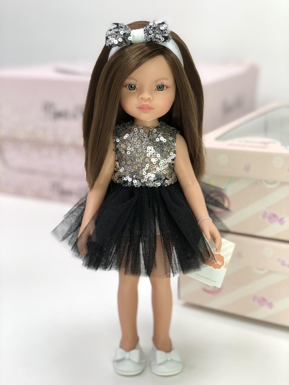 Кукла Мали с серыми глазами в нарядном платье, Паола Рейна , 34 см