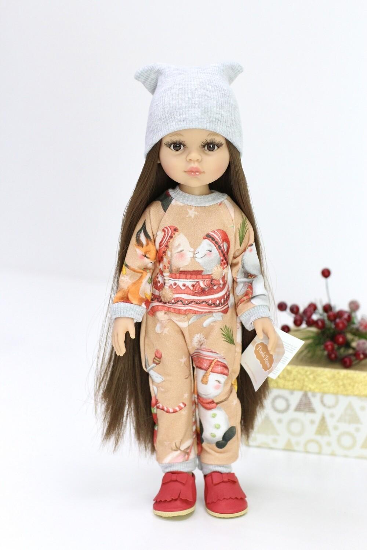 Кукла Кэрол Рапунцель с длинными волосами в новогоднем комбинезоне (Паола Рейна), 34 см
