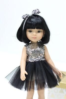 Кукла Лиу с каре в нарядном платье, Паола Рейна, 34 см
