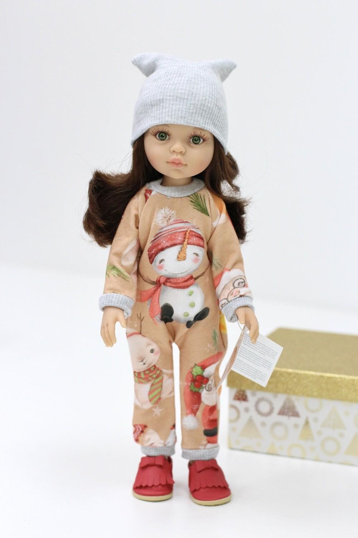 Кукла Кэрол с волосами по пояс в новогоднем комбинезоне, с зелеными глазами (Паола Рейна), 34 см