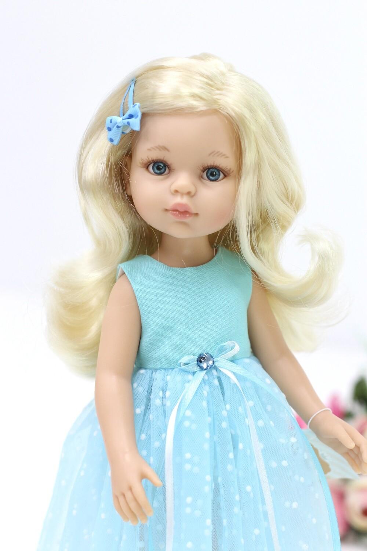 Кукла Клаудия в нарядном голубом платье Паола Рейна, 34 см