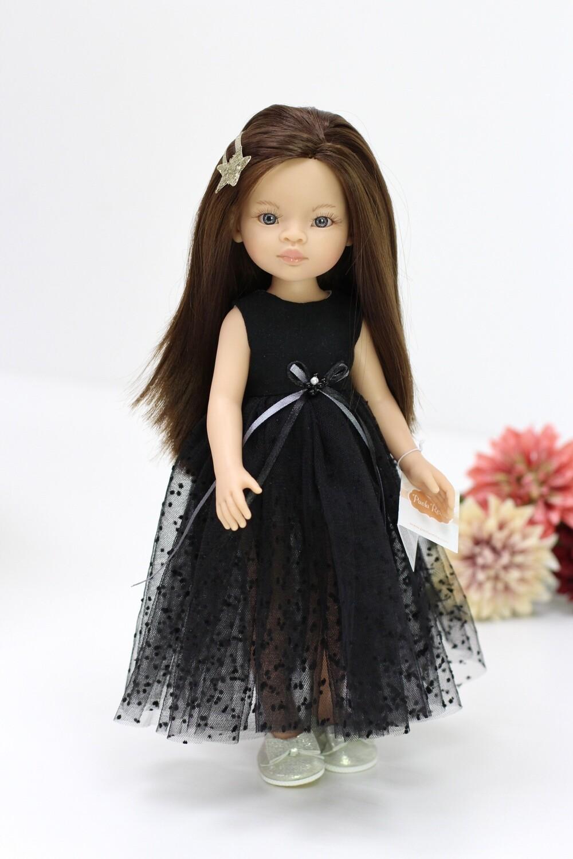 Кукла Мали с серыми глазами в нарядном черном платье, Паола Рейна , 34 см