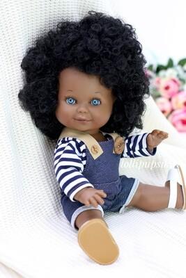 Кукла Бетти-мулатка с ароматом карамели, с голубыми глазками, 30 см, Lamagik Magic Baby, в фабричном наряде