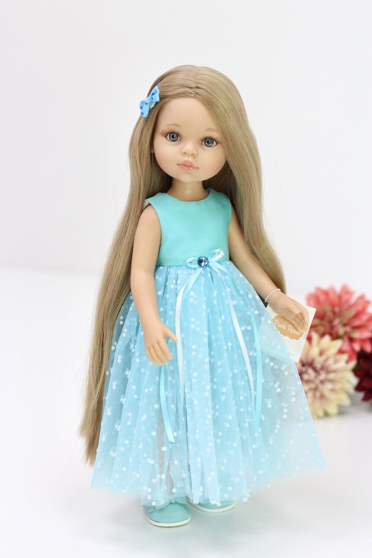 Предзаказ. Отправка после 10 июня. Кукла Карла Рапунцель с серо-голубыми глазами в нарядном голубом платье (пижама в комплекте) , Паола Рейна , 34 см
