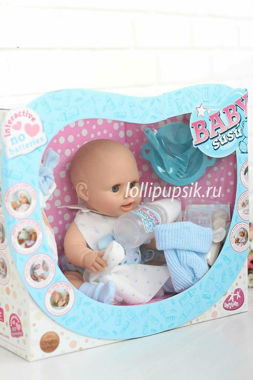 Писающий пупс Berjuan Baby Susu в голубом, 38 см