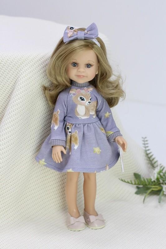 Кукла Клео с серыми глазами, волосами до пояса в красивом платье (Паола Рейна), 34 см