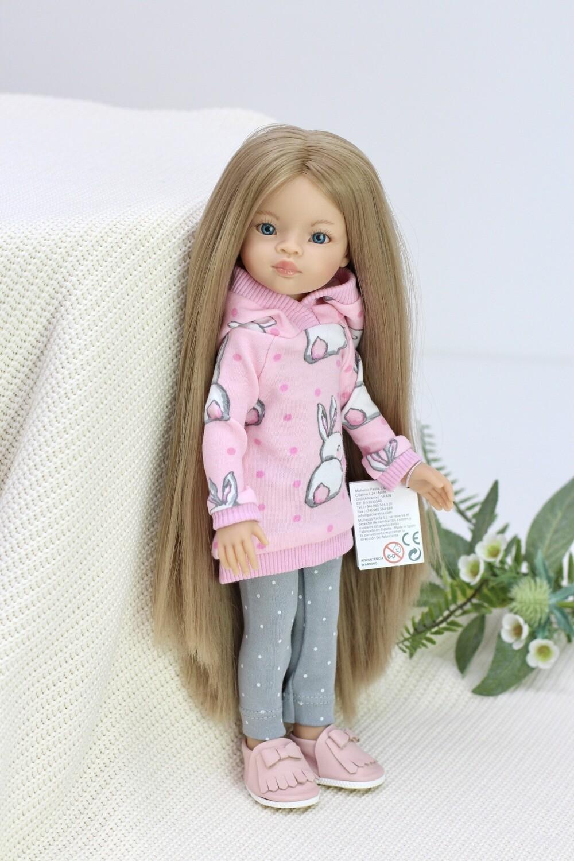 Кукла Маника с волосами до щиколоток (Рапунцель) в костюме с зайкой (пижама в комплекте), Паола Рейна, 34 см