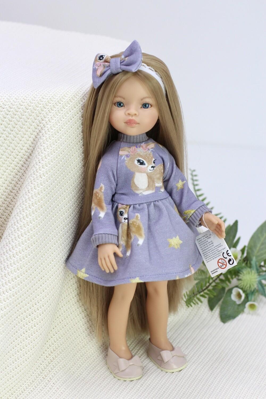 Кукла Маника с волосами до щиколоток (Рапунцель) в платье с оленятами, Паола Рейна, 34 см