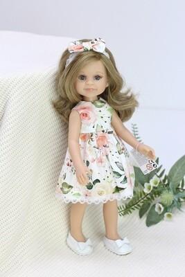 Кукла Клео с серыми глазами, волосами до пояса в красивом летнем платье (Паола Рейна), 34 см