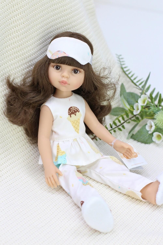 Кукла Кэрол с челкой и волосами по пояс в модной пижамке, с карими глазами (Паола Рейна), 34 см