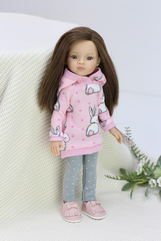 Кукла Мали с серыми глазами в модном костюме с зайкой, Паола Рейна , 34 см