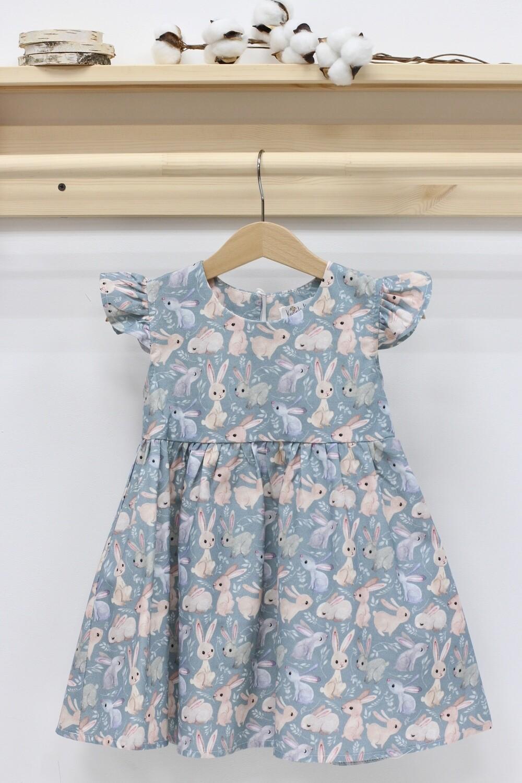 Платье летнее «Зайки на сером»
