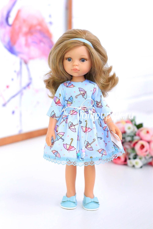Кукла Карла с серыми глазами, волосами до пояса в платье с зонтиками (Паола Рейна), 34 см