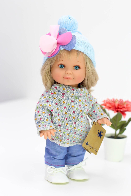 Кукла Бетти с ароматом карамели, с голубыми глазками, в джинсах и свитере, 30 см, Lamagik Magic Baby
