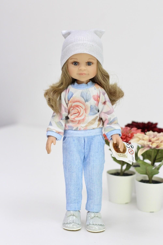 Кукла Клео с серыми глазами, волосами до пояса в стильном образе (Паола Рейна), 34 см
