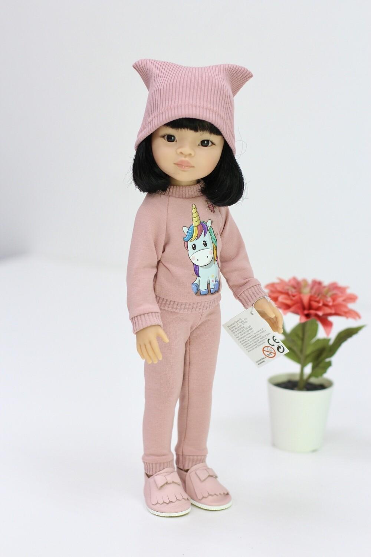 Кукла Лиу с каре в модном костюме с единорожком, Паола Рейна, 34 см