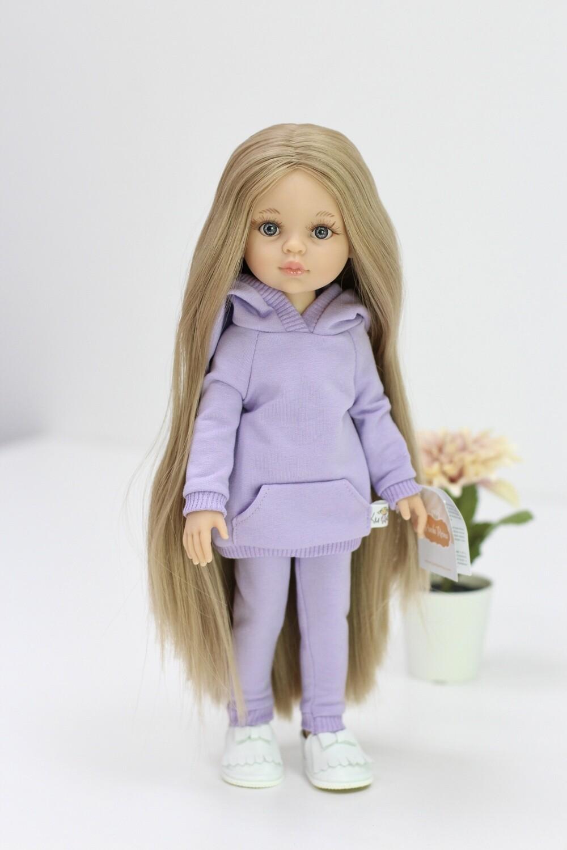 Кукла Карла Рапунцель с серо-голубыми глазами в лавандовом костюме (пижама в комплекте), Паола Рейна , 34 см
