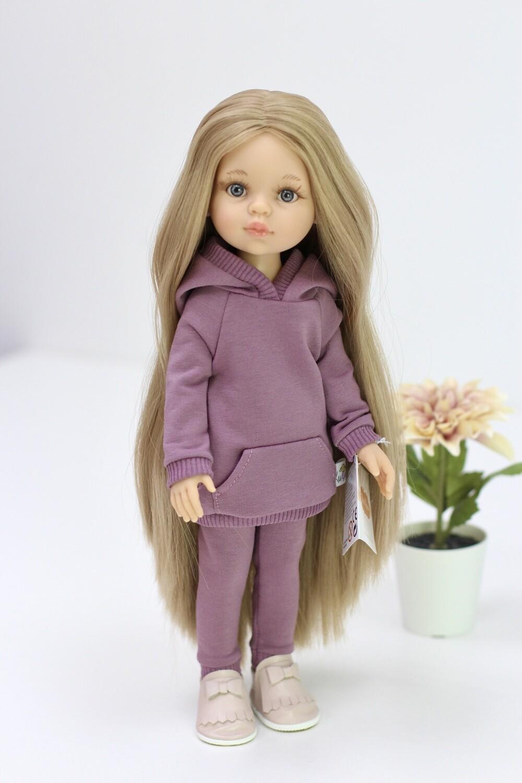 Предзаказ. Отправка после 10 июня. Кукла Карла Рапунцель с серо-голубыми глазами в костюме марсала (пижама в комплекте), Паола Рейна , 34 см
