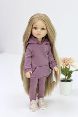 Кукла Карла Рапунцель с серо-голубыми глазами в костюме марсала (пижама в комплекте), Паола Рейна , 34 см