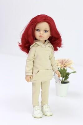 Кукла Даша с малиновыми волосами в одежде (Паола Рейна), 34 см